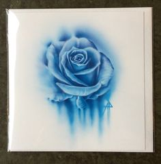 Blue rose watercolour style Gretings Card
