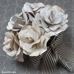 This super creative bouquet of paper flowers is made with vintage book pages makes for an interesting statement piece. Template and tutorial by Lia Griffith