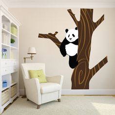 Panda Tree Wall Mural Decal - Panda Nursery Tree Wall Decal - Large Tree Stickers - Nursery Tree Decal - Kids Bedroom Stickers - Primedecals