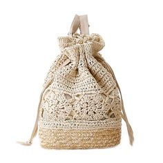 "Catkit Handmade Womens Preppy Style Tote Handbag Summer Beach Shoulder Bag Backpack Beige. Brand New Natual Lightweight Straw handmade Straw Shoulder bags. Size Approx: 11.42""(L)*15.35(H)*3.94""(W). Soft Knitted Chain Link Fence with Color Match Synthetic Leather Strap. Multiple uses, can work as shoulder bag, tote bag, backpack and beach bag. Enough space to put your books,wallet,Ipad inside,Fashion Design helps you get more attentions."