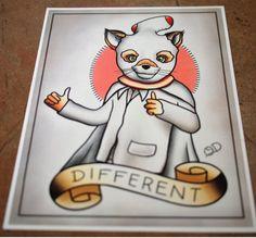 Mr. Fantastic Fox Tattoo Flash 1 print by ParlorTattooPrints