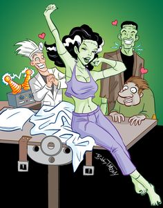 The Monster Pin Up Girl series continues with the Bride of Frankenstein! Frankenstein's Monster, Monster Mash, Horror Themes, Hybrid Moments, Bride Of Frankenstein, Classic Monsters, Girls Series, Psychobilly, Horror Art