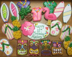 Luau Sugar Cookies Flamingo Tiki Surfboard Tatum Pole Decorated Sugar Cookies by I Am the Cookie Lady