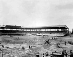 Construction of Wrigley Field, c.1914, Chicago. Originally called Weeghman Park, it was built for the Federal League Chicago Whales. Two years later in 1916, it became the official park for the Chicago Cubs and in 1920 was renamed Wrigley Field after the teams gum magnate owner.