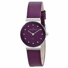 So simple, but so pretty...#Skagen Purple Leather Womens Watch  women watch #2dayslook #alex2578923  www.2dayslook.com