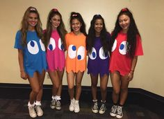 The ghosts from pac man group costume Cute idea. The ghosts from pac man group costume Cute idea. The ghosts from pac man group costume Diy Halloween Costumes For Girls, Best Friend Halloween Costumes, Halloween Look, Halloween Parties, Pac Man Halloween Costume, Halloween College, Kid Costumes, Children Costumes, Halloween Makeup