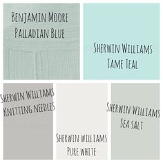 Our interior paint colors!  Pure white for all the base boards and crown moulding. Knitting Needles in the hallway. Sea Salt through out the living room and kitchen / dining room. And Tame Teal for the nursery and Palladian Blue in the office. LOVE IT!!