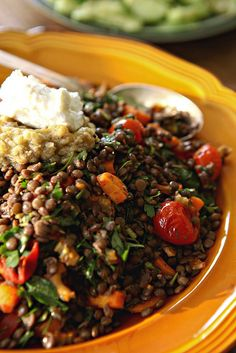 Lentils with grilled eggplant