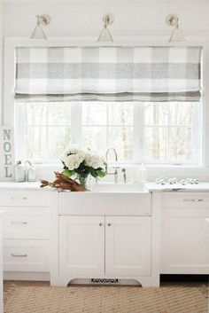 Farm style kitchen curtains soft buffalo check roman shades love kitchen window treatments with blinds kitchen . Window Over Sink, Kitchen Sink Window, Curtains For Kitchen Window, French Door Curtains, Kitchen Windows, Country Curtains, Kitchen Cupboard, White Curtains, Kitchen Cabinets