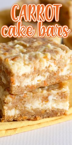-- MADE THESE - DELICIOUS! Carrot Cake Bars - These carrot cake bars are so moist and delicious! They have a sprinkle of cinnamon and a cheesecake swirl in them. They're the perfect Easter dessert bars. Mini Desserts, Just Desserts, Easy Delicious Desserts, Easter Desserts, Carrot Recipes, Easter Recipes, Sweet Recipes, Baking Recipes, Cake Recipes