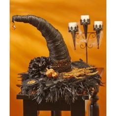 Check out FloraCraft® Witch Hat Centerpiece crafting ideas at A. Explore many more such exceptional art & craft products only here. Halloween Witch Hat, Halloween 2013, Holidays Halloween, Halloween Party, Witch Hats, Chic Halloween, Halloween Greetings, Halloween Snacks, Diy Halloween Decorations