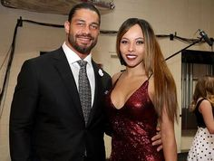 WWE Superstar Roman Reigns (Joe Anoa'i) and his wife Galina at the 2016 WWE Hall of Fame ceremony #WWE #wwecouples #SamoanDynasty