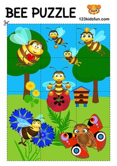 Bee Game - Free Animals Puzzle for Kids. Homeschooling – Free Printables, Worksheets and Activities. Free Puzzles For Kids, Printable Games For Kids, Puzzle Games For Kids, Free Games For Kids, Educational Games For Kids, Toddler Learning Activities, Preschool Activities, Kids Fun, Free Printables