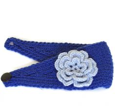 Blue Knitted Headband With Crocheted Silver Flower - Ready To Ship $20.00 thecraftstar