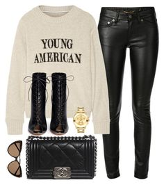 """""""What I'd Wear"""" by monmondefou ❤ liked on Polyvore featuring Yves Saint Laurent, The Elder Statesman, Chanel, Gianvito Rossi and Movado"""