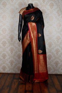 #Black & antique gold pure silk adorable #saree with red & antique #gold border -SR13445