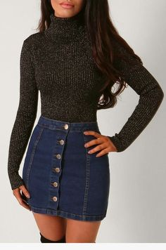 Fashion outfits casual outfits Nice 45 Stylish Denim Skirt Outfits Ideas To Makes You Look Stunning Denim Skirt Outfits, Denim Mini Skirt, Mini Skirts, Jean Skirts, Outfits With Jean Skirt, Denim Skirt Outfit Winter, Winter Outfits With Skirts, Sweater With Skirt, Winter Skirt