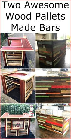 We will show you that how the reshaping of the shipping pallets can turn them into the bars that a person can place in the kitchen or can use as the reception desk in an office. Here you can view two amazing wooden pallet made bars, one of them is totally made up of wood while the other contains a marble slab which is optional.