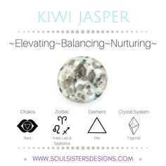 Metaphysical Healing Properties of Kiwi Jasper, including associated Chakra, Zodiac and Element, along with Crystal System/Lattice to assist you in setting up a Crystal Grid. Go to https://www.soulsistersdesigns.com/kiwi-jasper to learn more!