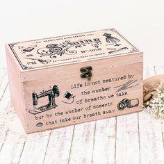 """Caja de madera estilo vintage """"Sewing"""""""