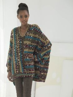 Image of Crochet Poncho Pullover, this would be so great in a solid color!