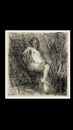 """Frank Auerbach - """" Nude Seated on a Folding Chair """", 1954 - Drypoint - 15 x 14,8 cm"""