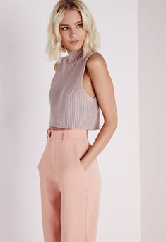 High Neck Ribbed Vest in Mauve thats Cropped looks casual and easy with a similar colored pink trouser pant. Fashion Mode, Look Fashion, Fashion Outfits, Fashion Trends, Fashion Hacks, Fashion Ideas, Teen Fashion, Fashion Beauty, Fashion Tips