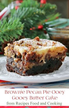 Brownie Pecan Pie Ooey Gooey Butter Cake - A fudge brownie layer, topped with a pecan pie filling and then a cheesecake layer. Ooey gooey cake at it's best! Recipes, Food and Cooking