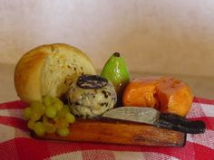 1:12 scale Dollhouse Cheese & Fruit Board w/ Knife by Artist Robin Joy Andreae