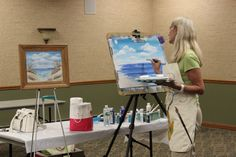 Thank you to local artist Christine Weyer for a wonderful painting class this morning. Patrons enjoyed learning easy acrylic techniques to make beautiful seascapes.