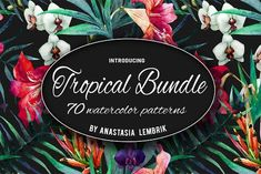 cool Tropical patterns bundle. Watercolor CreativeWork247 - Fonts, Graphic...