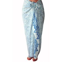 553525e719 White and Blue Chiffon Sarong Womens Clothing Beach Sarong Cover Up... (60  · Sarong SkirtSarong WrapPlus Size ...