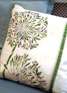 here a section of the Large Agapanthus has been stencilled onto a panel of a white cotton cushion cover in Olive Green and Leaf Green Fabric Paints. Stencil Painting, Fabric Painting, White Cotton Curtains, African Lily, No Sew Pillow Covers, Agapanthus, Sewing Pillows, Bright Purple, Blue China