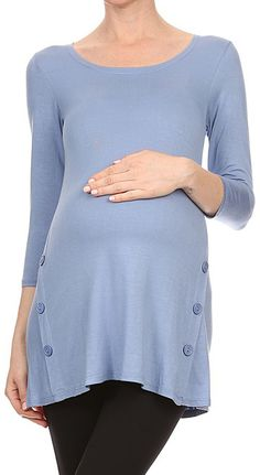e53cfba56f6e2 Chris & Carol Indigo Blue Button-Detail Maternity Tunic Maternity Tunic, Maternity  Clothing,