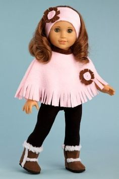 DreamWorld Collections Pink Poncho - Pink fleece poncho, matching headband, black leggings and brown sherpa boots - Clothes for 18 inch Dolls : Winter Fun Doll Clothing