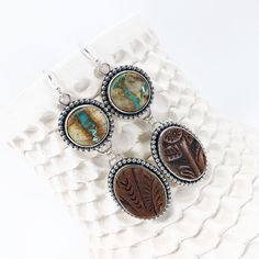 Royston Ribbon Turquoise Earrings with Leather drops from hand-tooled recycled western leather belts. Graphic Patterns, Turquoise Earrings, Leather Belts, Handcrafted Jewelry, Cuff Bracelets, Silver Jewelry, Ribbon, Color, Craft Jewelry