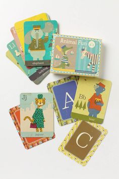 Animal Fun Flashcards: These vintage-inspired animal ABC cards, featuring the illustrations of Japanese artist Junzo Terada, will help your kiddy learn the alphabet lickety-split. #kids #educational #toys #gifts