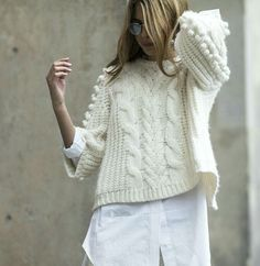 Inspiration- popcorns down sleeves and cables down front