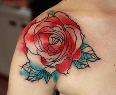 Flower watercolor tattoo on shoulder