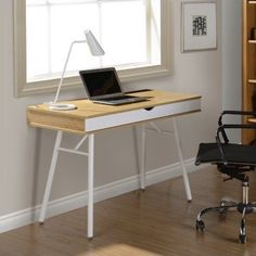 Techni Mobili Multi Storage Writing Desk with Cord Management, Pine, Brown