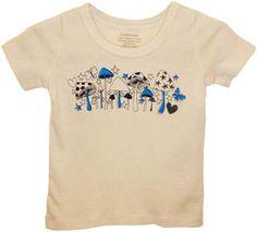 organic t-shirt - blue mushrooms