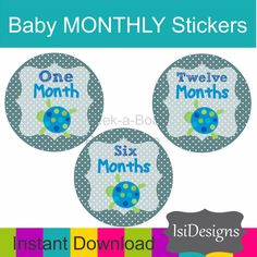 You will receive access to an INSTANT DOWNLOAD of this PDF file once payment is received.  DIY baby monthly stickers. This product is a PDF file with 3 stickers per sheet. ... #etsy #photo