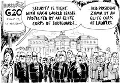 Zuma - Summit 2013 in St. Petersburg published in Sunday Times on 8 Sep 2013 World Leaders, Satire, Caricature, Cartoons, International Relations, Politics, Humor, Sayings, Law
