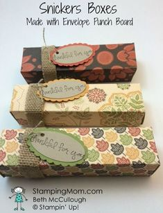 Stampin' Up Snickers Box made with Envelope Punch Board designed by demo Beth McCullough. Please see more card and gift ideas at http://www.StampingMom.com #StampingMom