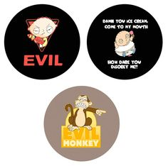 Family Guy Set of 2.25 Inch Pinbacks Buttons Badges Pins - $4.49