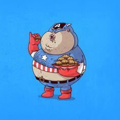 Les super-héros obèses vus par Alex Solis