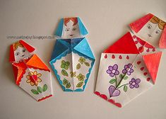 MeiJo's JOY: Origami Babushka / Matryoshka doll.  I have been looking for a set simple enough for my students to make.  I don't teach a game/craft/life skills class anymore but think I could incorporate this into a math project or pair it with a book at Easter.