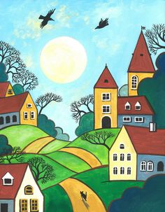 ACEO Print of Painting RYTA Abstract Folk Art Houses Tuxedo Cat Crow Whimsical | eBay