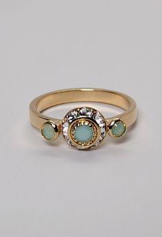 Mint Alabaster Small Three Stone Ring