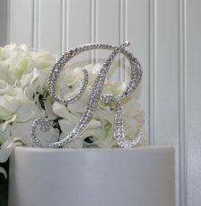 Monogram R wedding cake topper